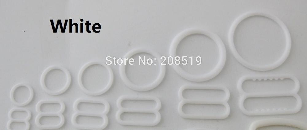 NBNLAE 100 шт. пряжки для бюстгальтера(50 шт. уплотнительное кольцо+ 50 шт. 8 слайдеров) красочные пластиковые пряжки нижнее бельё с пуговицами аксессуары - Цвет: white as show