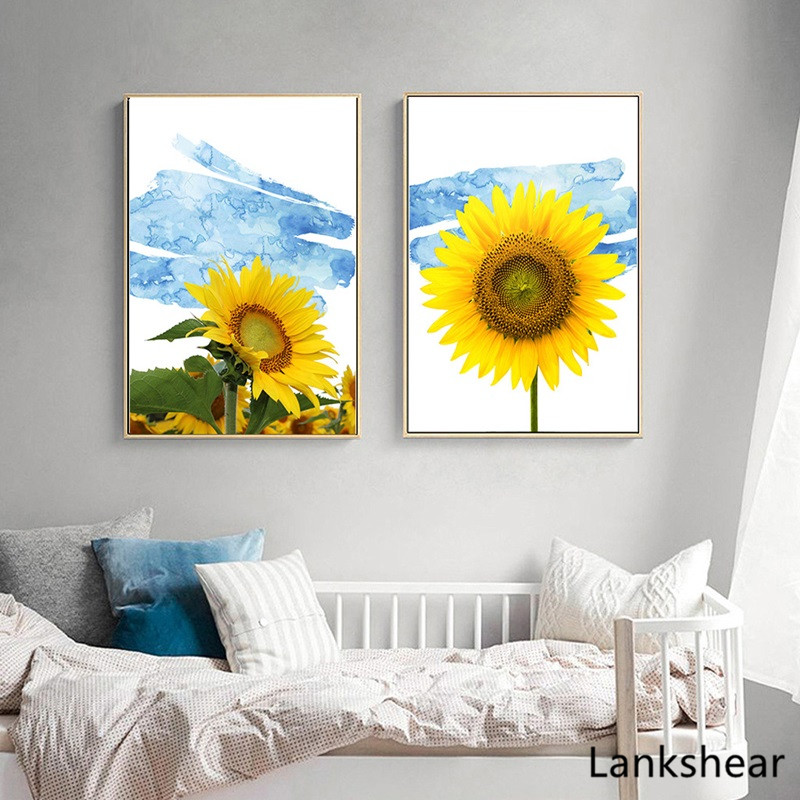 Modern Wall Art Oil Canvas Painting For Home Yellow Sunflower Pictures Home Decor For Living Room No Frame Poster And Print in Painting Calligraphy from Home Garden