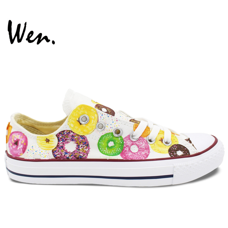 ФОТО Wen Low Top Sneakers for Women Men Design Custom Colorful Donuts Canvas Shoes Flats Lace Up Personalized Gifts Girls