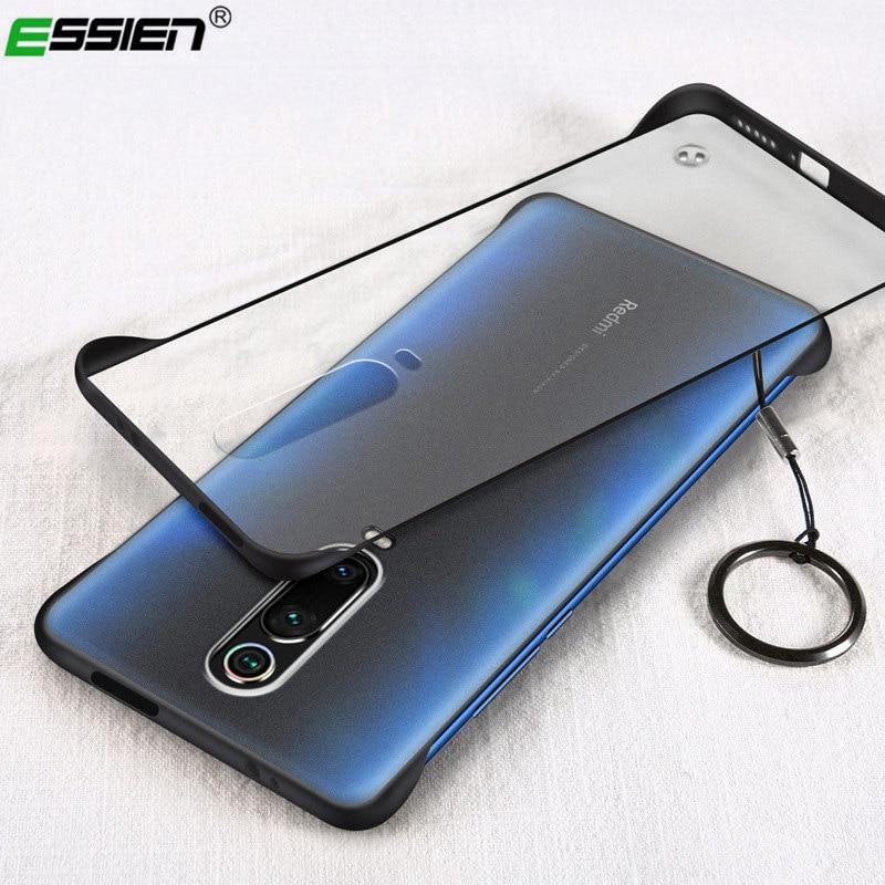 ESSIEN Frameless Transparent Matte Hard Phone Case For Redmi K20 Pro Case Cover With Finger Ring Cases For Xiaomi Mi9 Mi8