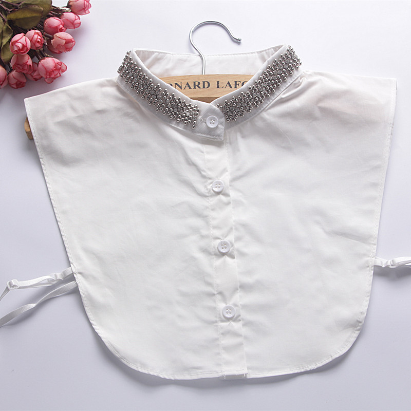 Silver Bead Stand Fake Collars Bluz For Accessories Women Callar-less Clothes  Half Tops Detachable Removable False Collar