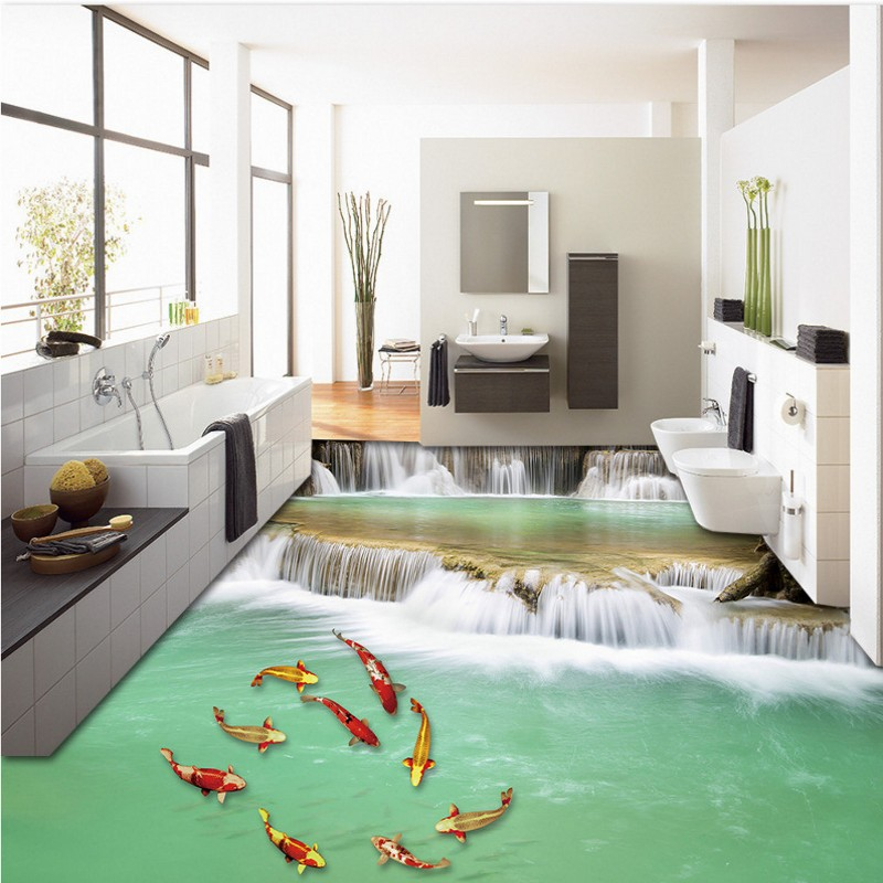 free office wallpaper. Free Shipping Aesthetic Stream Nine Fish Flooring Wallpaper Office Kitchen Waterproof Floor MuralChina