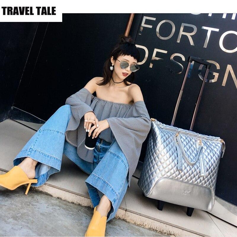 """REISE TALE 16 """"zoll smart gepäck kabine trolly tasche retro tragen auf leder reisetasche für frauen-in Reisetaschen aus Gepäck & Taschen bei  Gruppe 2"""
