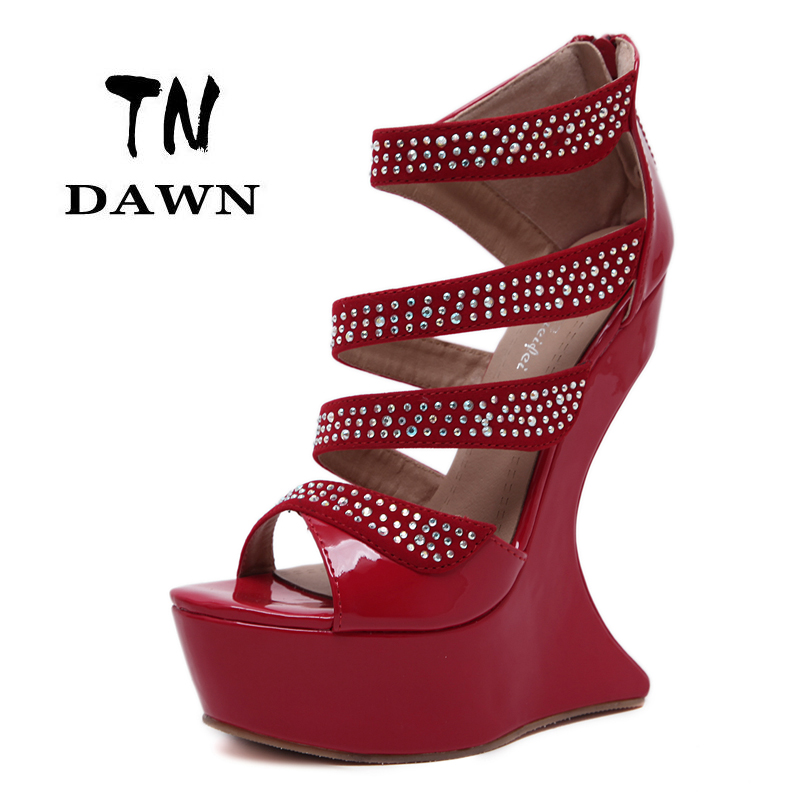 New Style Women Fashion Super High Heels Open Toe Platform Ladies Sexy Sweet Crystal Wedges Pumps Stilettos Party Wedding Shoes 2016 new fashion ladies sexy platform high wedge heels shoes women summer style vintage open toe buckle soft leather sandala