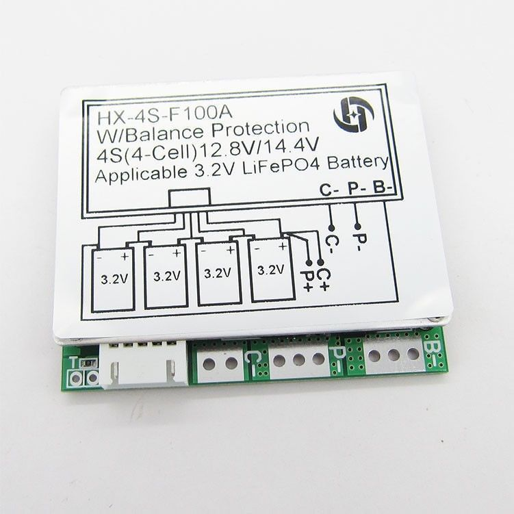 4S 12.8V 100A Balance LiFePo4 LiFe Lithium Iron Phosphate Battery Protection Board Cell PCB BMS 3.2V X 4 12V Batteries