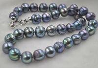 Бесплатная доставка 11.5-12 мм подлинная искусственный черный жемчужное ожерелье 50 см долго