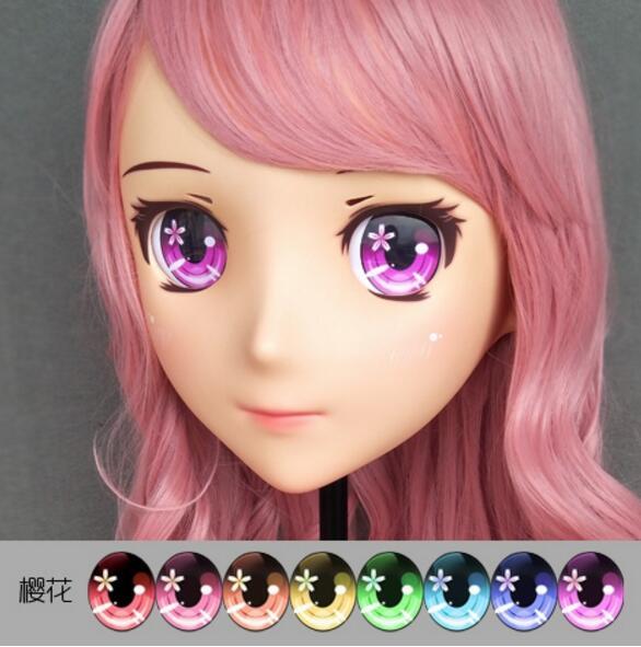 (Jiang07)Female Sweet Girl Resin Half Head Kigurumi Crossdress Cosplay Japanese Anime Role Lolita Doll Mask  With Eyes And Wig