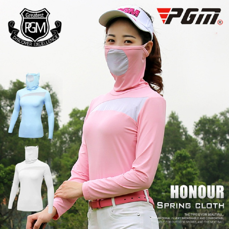 PGM Women Outdoor Golf Viscose Shirt Summer Long Sleeve Underwear Sunscreen Anti-Uv Ice Golf T-Shirts With Full Mask AA60446