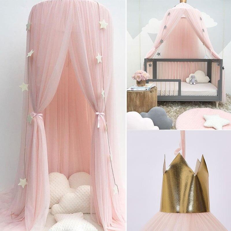 Cúpula de la cama cubierta de algodón Mosquito Net ropa de cama colgante colcha cortina para bebé niños leyendo jugando casa decoración D
