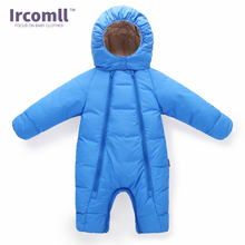 Ircomll Baby boy Rompers Long Sleeve Hooded Jumpsuit Kids Outwear Boys Snowsuit Roupa Infantil For 6-24Months Winter Thick Warm
