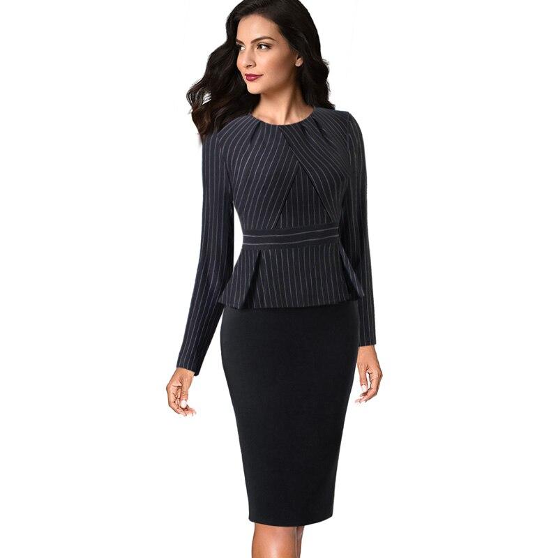 Vfemage Sheath Dress Peplum Zipper-Wear 1515 Pleated-Neck Work Business-Vestidos Office