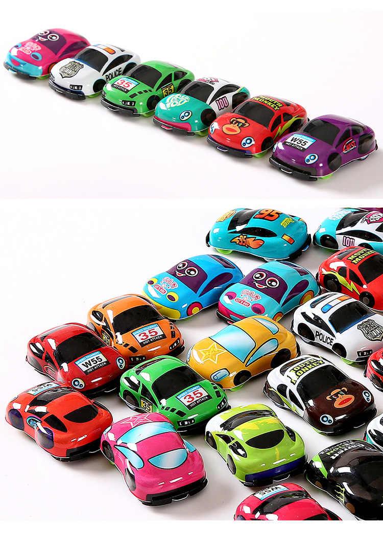 10 шт./лот, Мультяшные игрушки, милые пластиковые машинки для детей, колеса, мини-модель автомобиля, забавные детские игрушки для мальчиков и девочек, WYQ