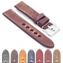 Fashion Vintage Genuine Leather Orange Watch Strap 18mm 20mm 22mm Retro Watch Accessories With Bright Scrub Buckle #A все цены