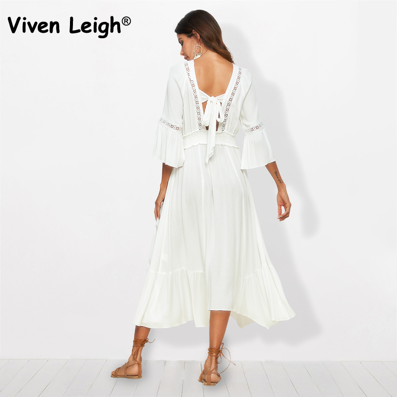 Viven Leigh Boho Summer Solid White Dress Cotton Women Flared Sleeve Sexy Deep V Neck Bow Back High Waist Long Dress Beach Robes