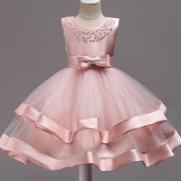 Girls Dress Kids Red Bownot Elegant Pageant Party Dress Girls Clothes Christmas Costumes For Children Toddler