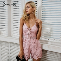 Simplee Sexy Backless Lace Jumpsuit Romper Women Strap V Neck Lace Up Short Overalls Fashion Party