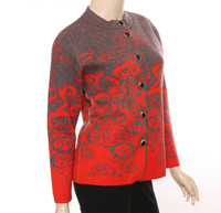 large size 100%goat cashmere thick knit women fashion printed beads cardigan sweater red 3color L 5XL