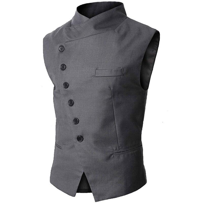 TANG 2019 New Arrival Mens Vest Fashion Brand Vest Men High Quality Black Gray Formal Business Men Fit Suits & Blazer For Men
