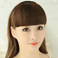 HiDoLA Clip-In Bang Extension Blonde Hairpiece Bangs Clip in Hair Extensions One Piece Straight Hairpiece Accessories Headwear pure blonde clip in soft wave hair extension 3pcs