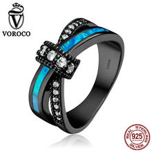 VOROCO 925 Sterling Silver Limpar CZ Gem Anéis de Opala Azul para As Mulheres Cocktail Party Wedding Fine Jewelry(China)