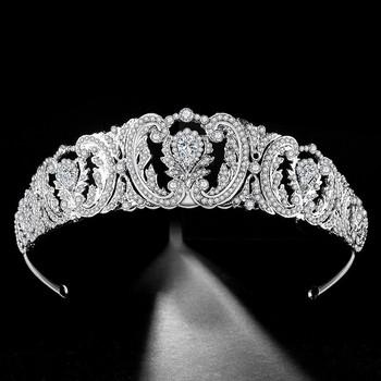 Barokowy luksusowe kryształ ślubne dla nowożeńców tiara korony dla kobiet Prom Diadem ozdoby do włosów ślubne włosy ślubne biżuteria akcesoria tanie i dobre opinie Moda Hairwear TRENDY PLANT Ze stopu cynku Tiary Kobiety George Black HG001 Baroque Luxury Crystal AB Bridal Crown Tiaras