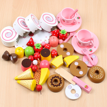 Wooden Toy Pretend Play Toy Baby Afternoon Tea Strawberry Wooden Tea toys Simulation Toy Baby Gift Children Play Kitchen D143