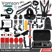 Vamson For Xiaomi Yi Accessories Kit Neck Strap Selfie Stick Waterproof Housing Case Standard Frame For