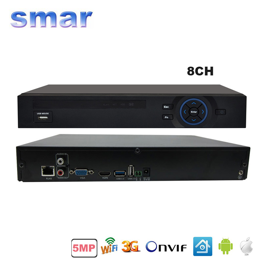 CCTV HD Network DVR 8 Channel H.264 8CH 5MP/16CH CCTV NVR For 5MP /3MP /2MP IP Camera Onvif 2.3 Support 3G Wifi Motion Detection 8ch 5mp 3mp 1080p h 264 onvif wifi 3g with smart function nvr
