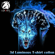 Luminous T-shirt Men Women 3d Wolf T shirt Rock Cotton Tshirt Short Sleeve Summer Tops Tees Fashion Brand Clothing Luxtees