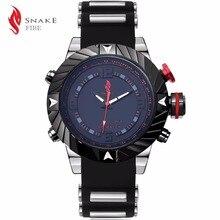 Banda de silicona Reloj de Los Hombres de Acero Militar Rojo Luminoso LED Puntero Del Reloj Para Hombre Impermeable de Los Deportes Digitales Relojes erkek kol saati