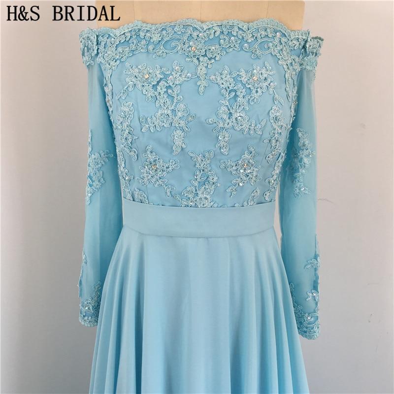 Dos en mousseline de soie bleu élégant avec des boutons drapés perlés épaule dénudée manches longues dentelle sexy robes de demoiselle d'honneur - 5