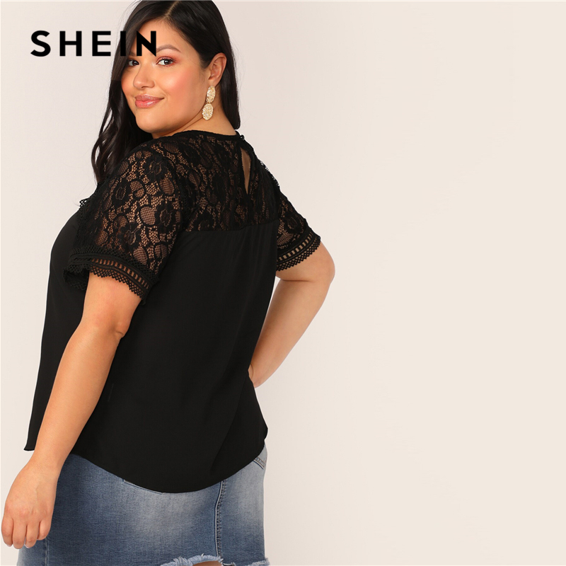 SHEIN Plus Size Black Lace Insert Raglan Sleeve Top Blouse Women Keyhole Back Summer Elegant Solid O Neck Sheer Plus Blouses 2