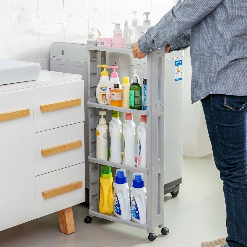Image 5 - The Goods For Kitchen Storage Rack Fridge Side Shelf 2/3/4 Layer Removable With Wheels Bathroom Organizer Shelf Gap Holder-in Storage Holders & Racks from Home & Garden