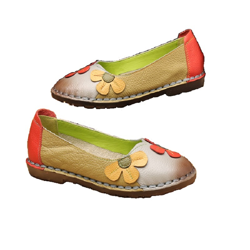 Xiuteng Summer Fashion Flower Soft Bottom Design Round Toe Mix Color Flat Shoes Vintage Genuine Leather Women Flats Girl Loafer