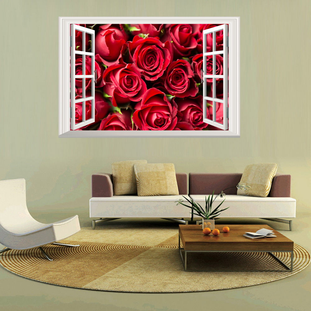 3 panels red roses wall murals wall stickers window stickers wallpaper decals home decoration 2018101123027