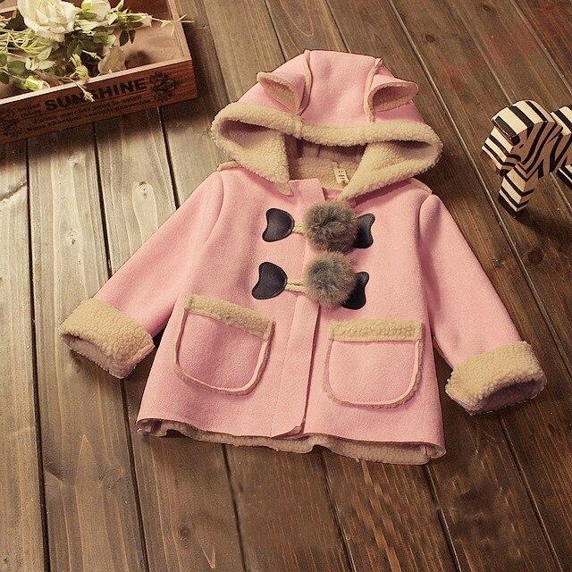 BibiCola новорожденных девочек зимнее пальто и Куртки дети верхняя одежда детские дети теплое пальто толщиной куртка с капюшоном кашемировые пальто