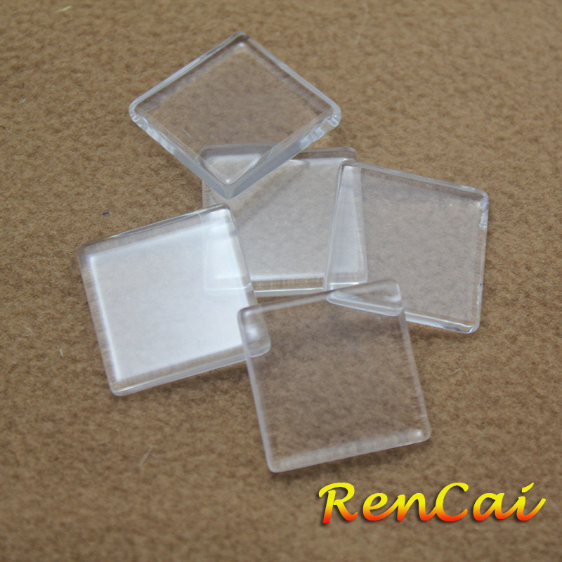 500pc 16 20 25 30 35mm Square Flat Back Transparent Clear Glass Cabochon Hot For DIY