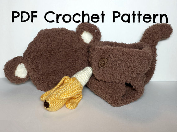 Crochet Newborn Fuzzy Monkey Hat And Diaper Cover Set With Amigurumi