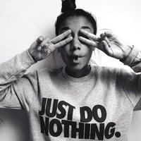 2016 Just Do Nothing Sudaderas Mujer Fashion Women Casual Long Sleeve Hoodie Jumper Pullover Sweatshirt Tops