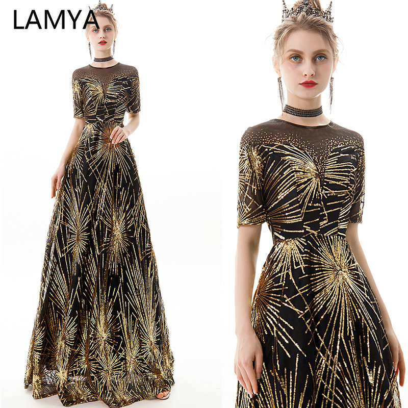 LAMYA Long A Line Gold Sequined Evening Dresses With Half Sleeve O Neck Crysta Prom Party Gown Ladies Elegant Vestido De Festa in Evening Dresses from Weddings Events