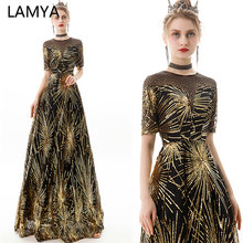 LAMYA Long A Line Gold Sequined Evening Dresses With Half Sleeve O Neck Crysta Prom Party Gown Ladies Elegant Vestido De Festa