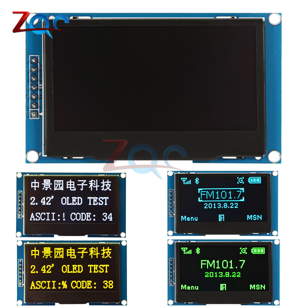 2.42 inch LCD Screen 12864 OLED Display Module IIC I2C SPI Serial C51 STM32 SSD1309 for Arduino 128X64 White/Blue/Green/Yellow iic i2c twi spi serial lcd 1602 module for arduino works with official arduino boards