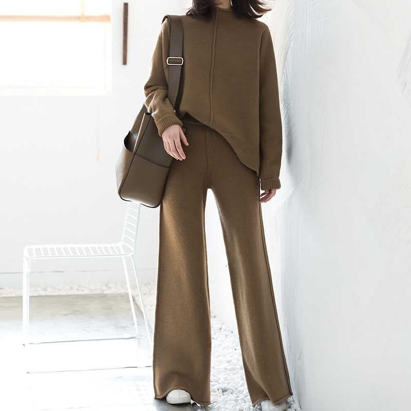 2018 Sale New Women's Suit Loose Round Neck Pullover Sweater High Waist Knit Wide Leg Pants Tracksuit Women Set Two Piece Pant