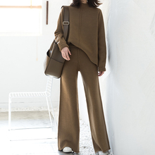 2018 Sale New Women's Suit Loose Round Neck Pullover Sweater High Waist Knit Wide Leg Pants Tracksuit Women Set Two Piece Pant active round neck drawstring waist tracksuit in beige