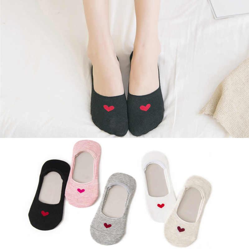 Милые летние носки с принтом в виде сердца для беременных женщин, скрытые невидимые летние дышащие носки для беременных