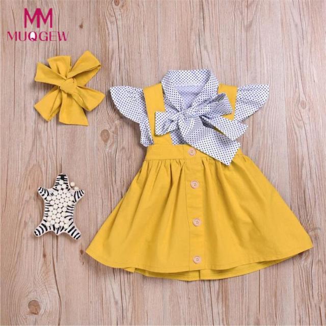 50a17ec753a6 3Pcs Toddler Infant Baby Girls Dress Sleeveless Dot Print Tops T ...