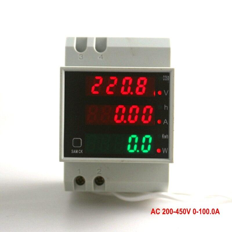 цена на Digital Voltmeter Ammter Voltage Ampere Meter Working Time Din Rail LED Power LED Display AC 220V 450V 100A 4 Digit 3 in 1