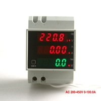 Digital Voltage Amp Meter With Working Time Din Rail LED Active Power W Factor Display Range