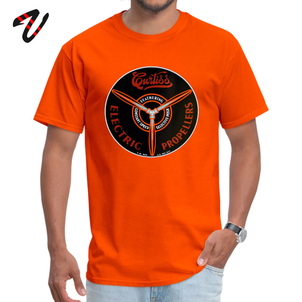 Curtiss Propeller Logo Repro 2019 Geek T Shirt Round Neck Father Day Pure Cotton Short Sleeve T-Shirt for Men Europe T Shirt Curtiss Propeller Logo Repro 1283 orange
