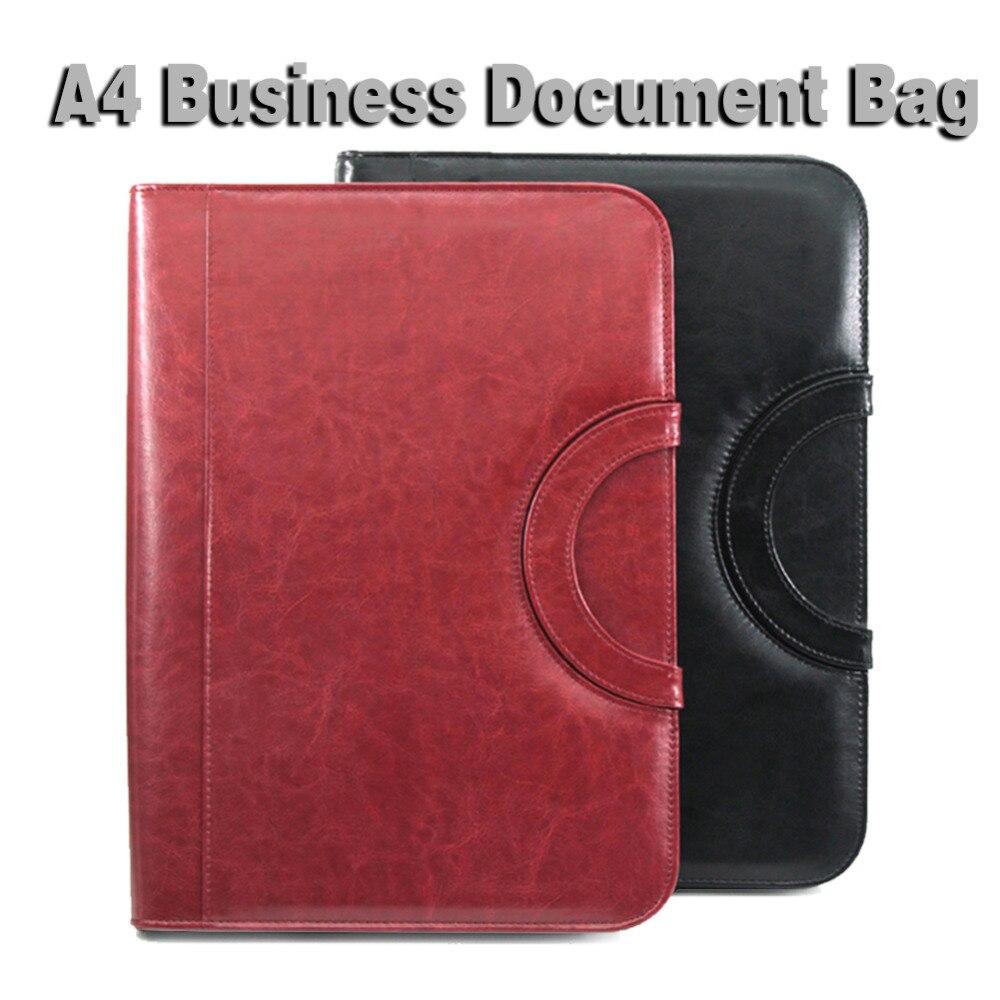 A4 Portfilio Бизнес менеджер документов сумка на молнии кожаный папке файлов Органайзеры для портфель с ручками на змейке